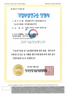 Company Affiliated Research Institute Certificate